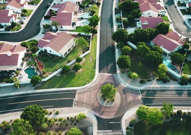 An aerial shot of the Californian neighborhood.