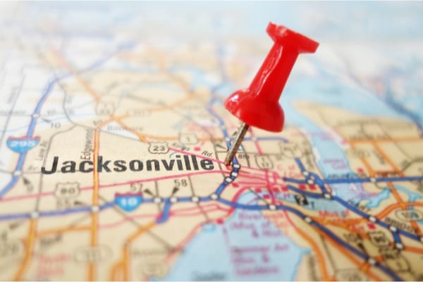 jacksonville florida close up map