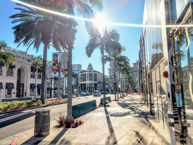Beverly Hills street with palm trees and sunshine